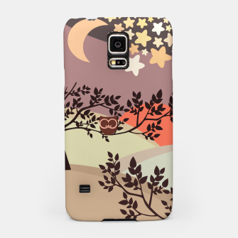 Quiet and peaceful night, cute owl snooze on the tree Samsung Case miniature