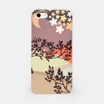 Quiet and peaceful night, cute owl snooze on the tree iPhone Case miniature