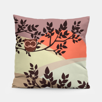 Quiet and peaceful night, cute owl snooze on the tree Pillow miniature