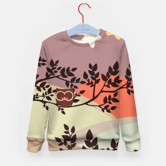 Quiet and peaceful night, cute owl snooze on the tree Kid's sweater miniature