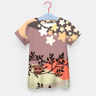 Quiet and peaceful night, cute owl snooze on the tree Kid's t-shirt miniature