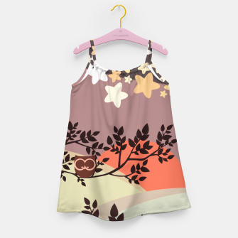Quiet and peaceful night, cute owl snooze on the tree Girl's dress miniature