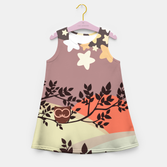 Quiet and peaceful night, cute owl snooze on the tree Girl's summer dress miniature