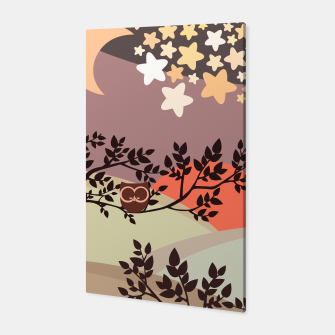 Quiet and peaceful night, cute owl snooze on the tree Canvas miniature