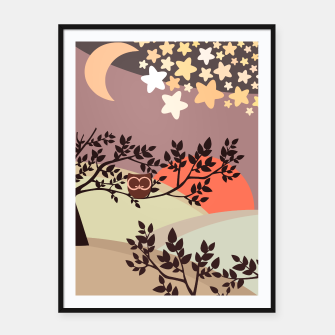 Quiet and peaceful night, cute owl snooze on the tree Framed poster miniature