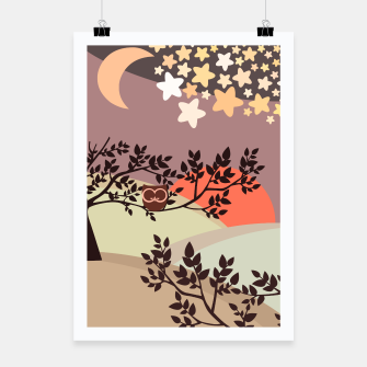Quiet and peaceful night, cute owl snooze on the tree Poster miniature