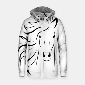 Thumbnail image of Horse head illustration Zip up hoodie, Live Heroes