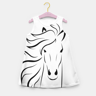 Thumbnail image of Horse head illustration Girl's summer dress, Live Heroes
