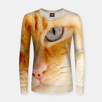 Cat with the blue eyes, cat face print  Women sweater miniature