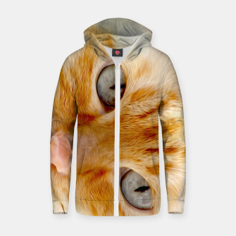 Cat with the blue eyes, cat face print  Zip up hoodie miniature