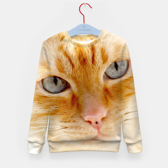 Cat with the blue eyes, cat face print  Kid's sweater miniature