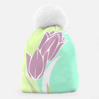 Thumbnail image of Tulips, botanical spring print Beanie, Live Heroes