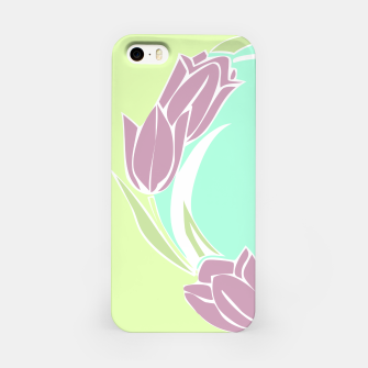Tulips, botanical spring print iPhone Case obraz miniatury