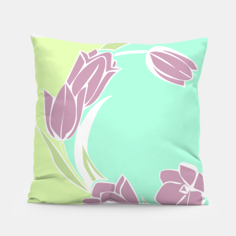 Thumbnail image of Tulips, botanical spring print Pillow, Live Heroes