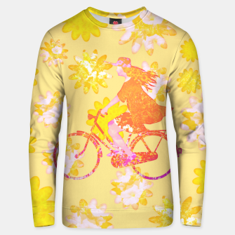 Woman Summer Bicycle Flowers Pattern Illustration Unisex sweatshirt obraz miniatury