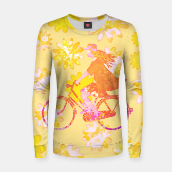Woman Summer Bicycle Flowers Pattern Illustration Frauen sweatshirt obraz miniatury