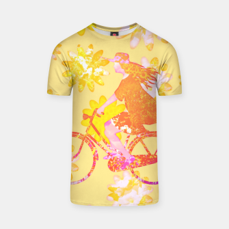 Woman Summer Bicycle Flowers Pattern Illustration T-Shirt obraz miniatury