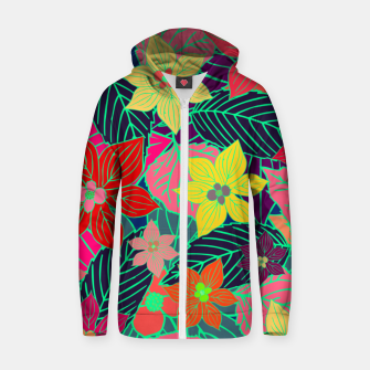 Imaginary garden, digital botanical print  Zip up hoodie miniature