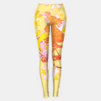 Woman Summer Bicycle Flowers Pattern Illustration Leggings obraz miniatury