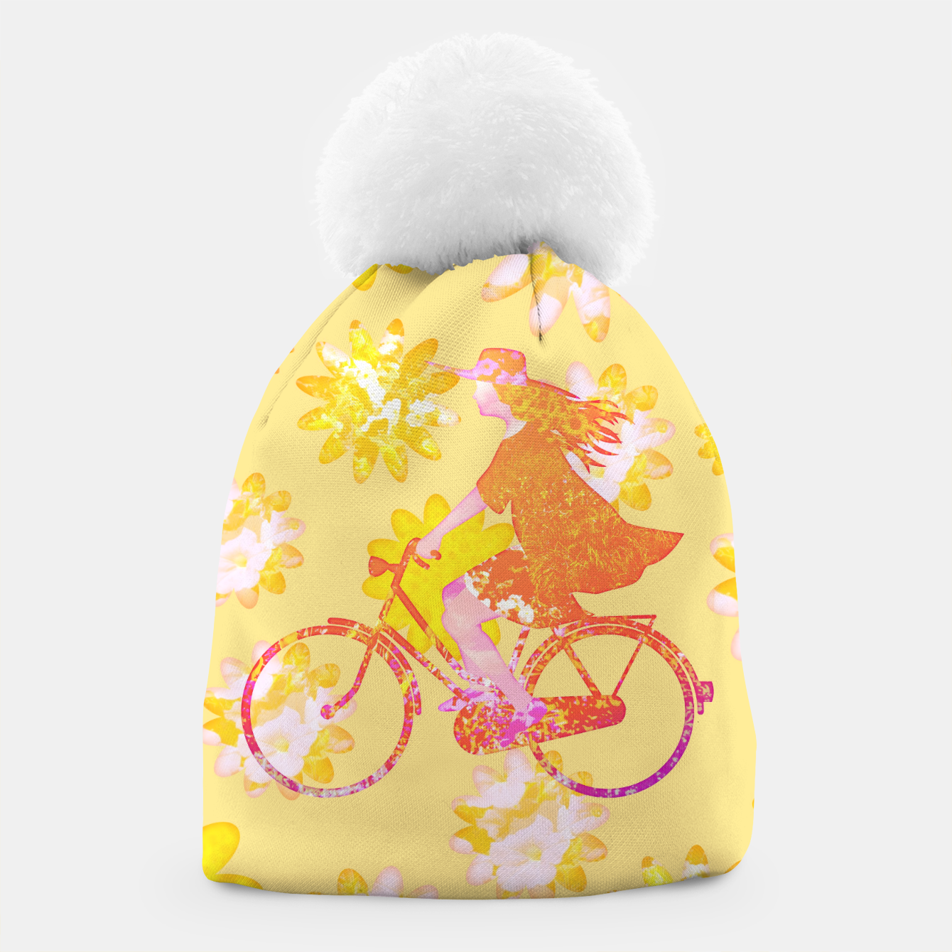 Zdjęcie Woman Summer Bicycle Flowers Pattern Illustration Mütze - Live Heroes