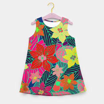 Imaginary garden, digital botanical print  Girl's summer dress miniature