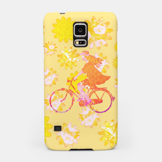 Woman Summer Bicycle Flowers Pattern Illustration Handyhülle für Samsung obraz miniatury