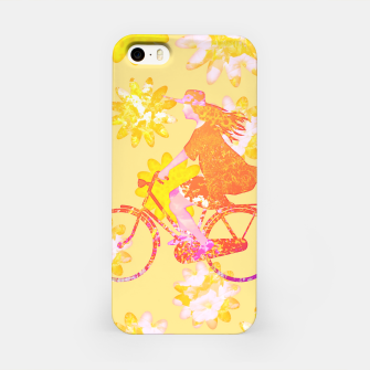 Woman Summer Bicycle Flowers Pattern Illustration iPhone-Hülle obraz miniatury