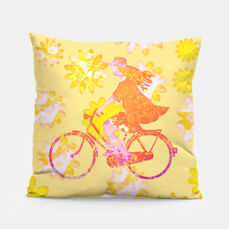 Woman Summer Bicycle Flowers Pattern Illustration Kissen obraz miniatury
