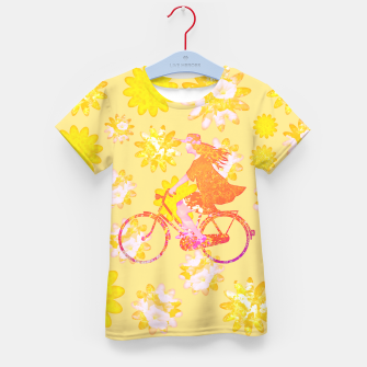 Woman Summer Bicycle Flowers Pattern Illustration T-Shirt für kinder obraz miniatury