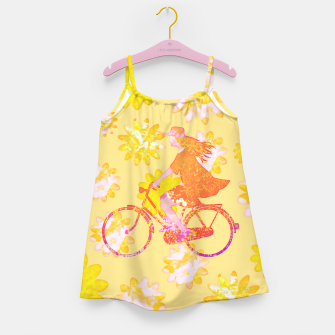 Woman Summer Bicycle Flowers Pattern Illustration Mädchenkleid obraz miniatury