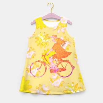 Woman Summer Bicycle Flowers Pattern Illustration Mädchen-Sommerkleid obraz miniatury