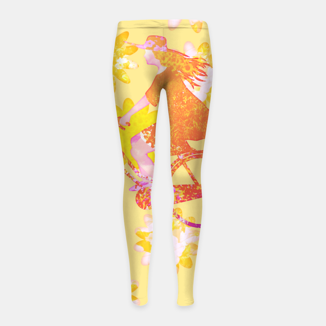 Zdjęcie Woman Summer Bicycle Flowers Pattern Illustration Kinder-Leggins - Live Heroes