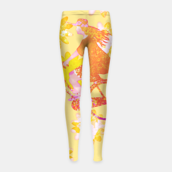 Woman Summer Bicycle Flowers Pattern Illustration Kinder-Leggins obraz miniatury