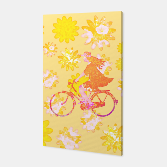 Miniatur Woman Summer Bicycle Flowers Pattern Illustration Canvas, Live Heroes