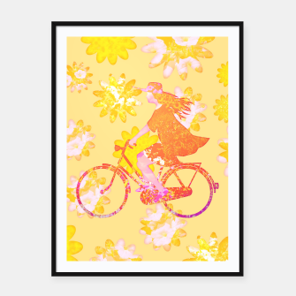Miniatur Woman Summer Bicycle Flowers Pattern Illustration Plakat mit rahmen, Live Heroes