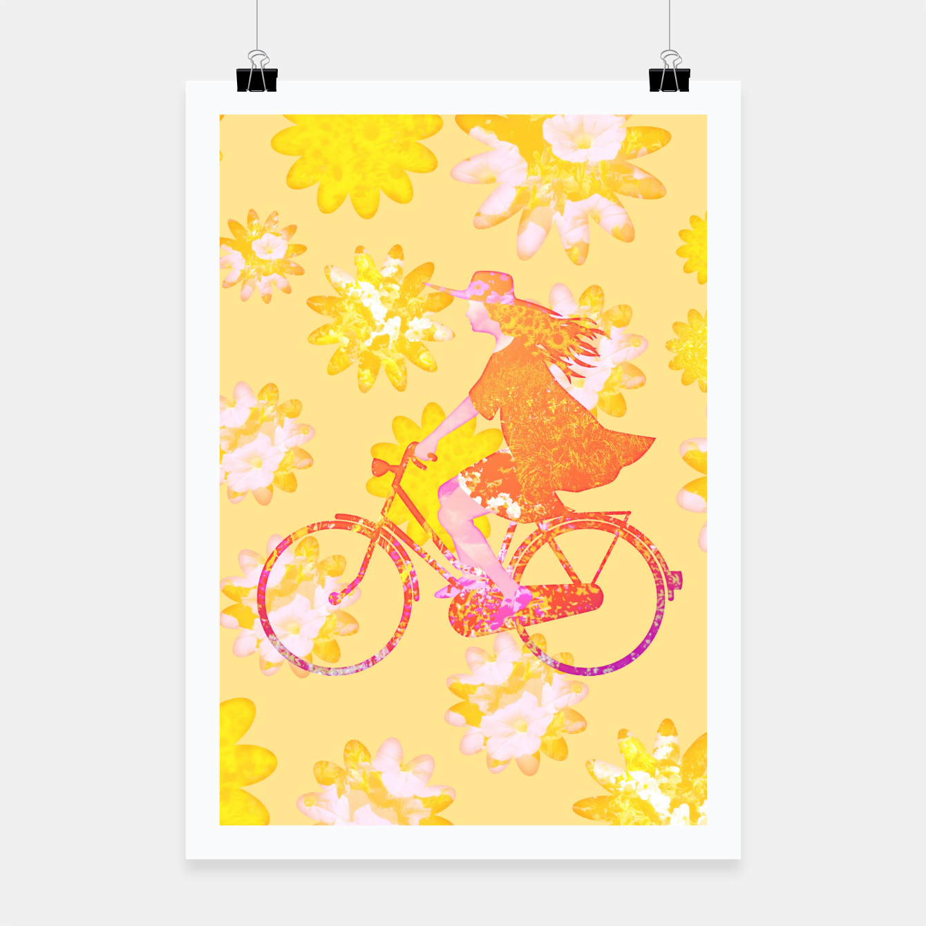 Zdjęcie Woman Summer Bicycle Flowers Pattern Illustration Plakat - Live Heroes