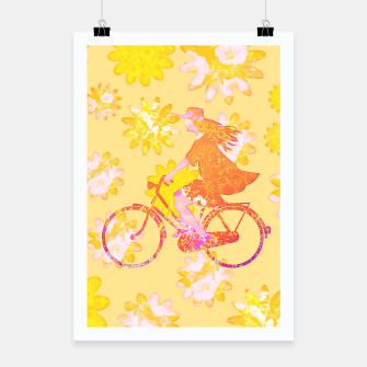Miniaturka Woman Summer Bicycle Flowers Pattern Illustration Plakat, Live Heroes