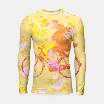 Miniatur Woman Summer Bicycle Flowers Pattern Illustration Longsleeve rashguard, Live Heroes