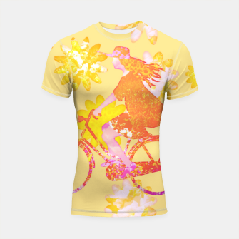 Woman Summer Bicycle Flowers Pattern Illustration Shortsleeve rashguard obraz miniatury
