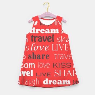 Live, love, laugh, dream, share, travel, kiss, smile Girl's summer dress miniature