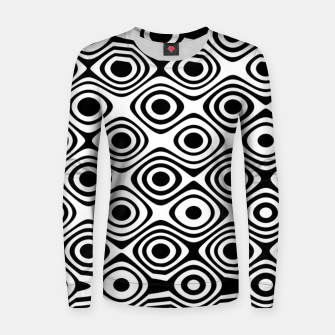 Asymmetry collection: abstract black and white circles Women sweater miniature