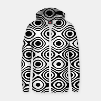 Asymmetry collection: abstract black and white circles Zip up hoodie thumbnail image