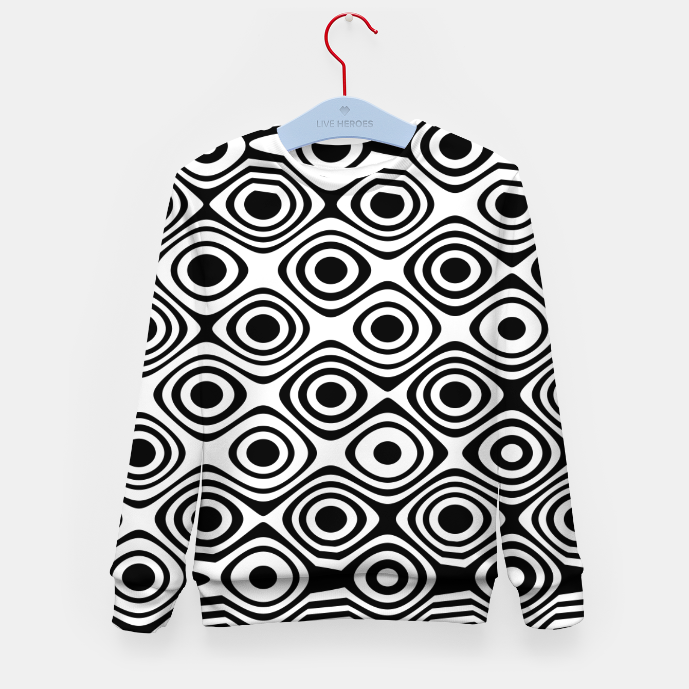 Image of Asymmetry collection: abstract black and white circles Kid's sweater - Live Heroes