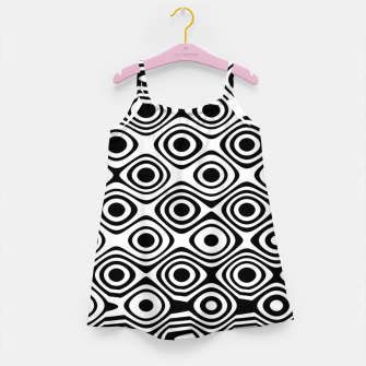 Asymmetry collection: abstract black and white circles Girl's dress miniature