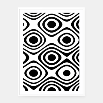 Asymmetry collection: abstract black and white circles Framed poster miniature