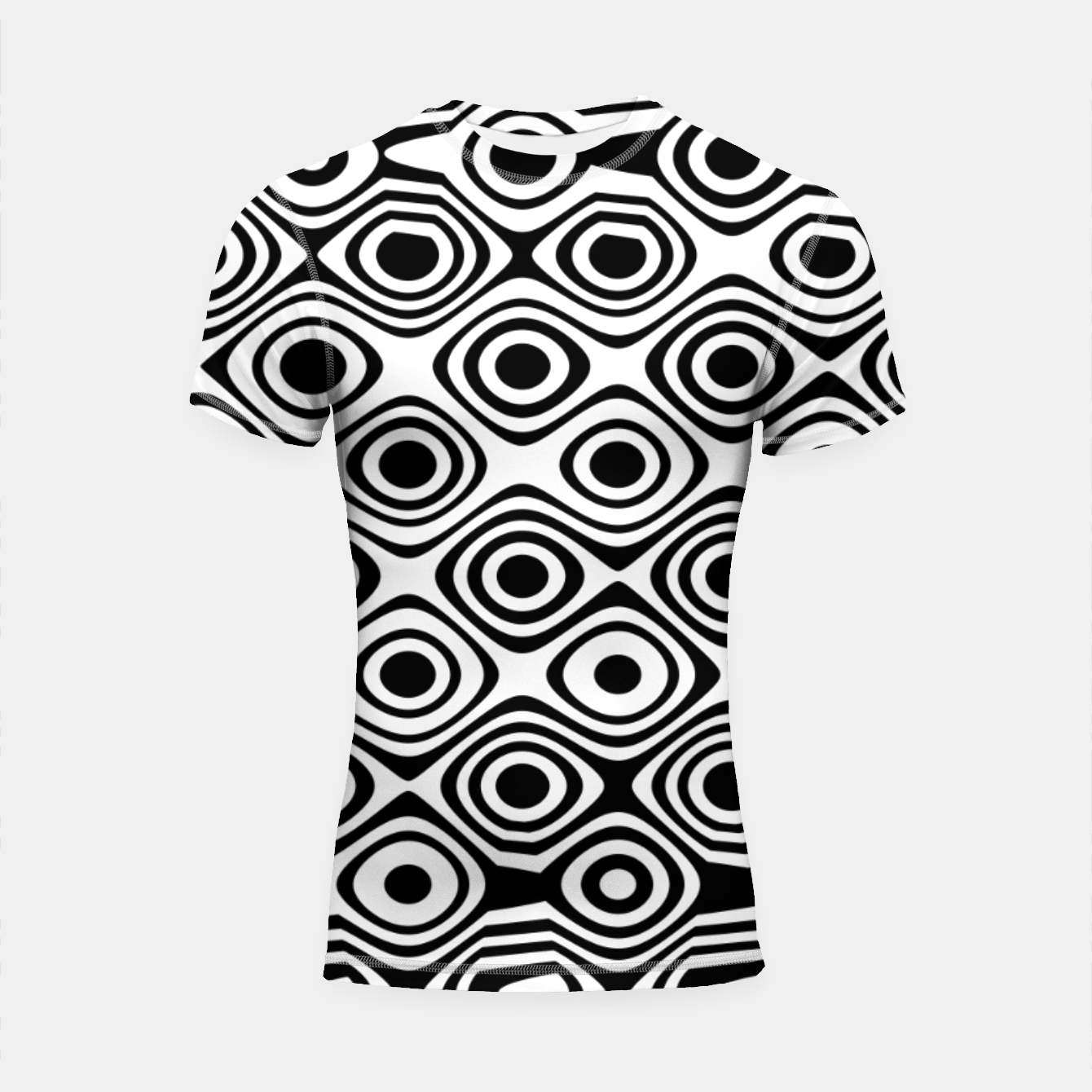 Image of Asymmetry collection: abstract black and white circles Shortsleeve rashguard - Live Heroes
