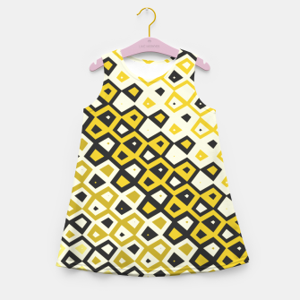 Asymmetry collection: retro shapes and colors Girl's summer dress miniature