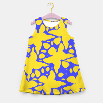 Asymmetry collection: abstract flowers in the water Girl's summer dress miniature