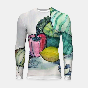 Miniatur vegetables watercolor Rashguard długi rękaw, Live Heroes