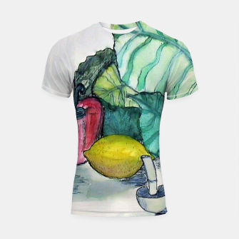 Miniatur vegetables watercolor Rashguard krótki rękaw, Live Heroes